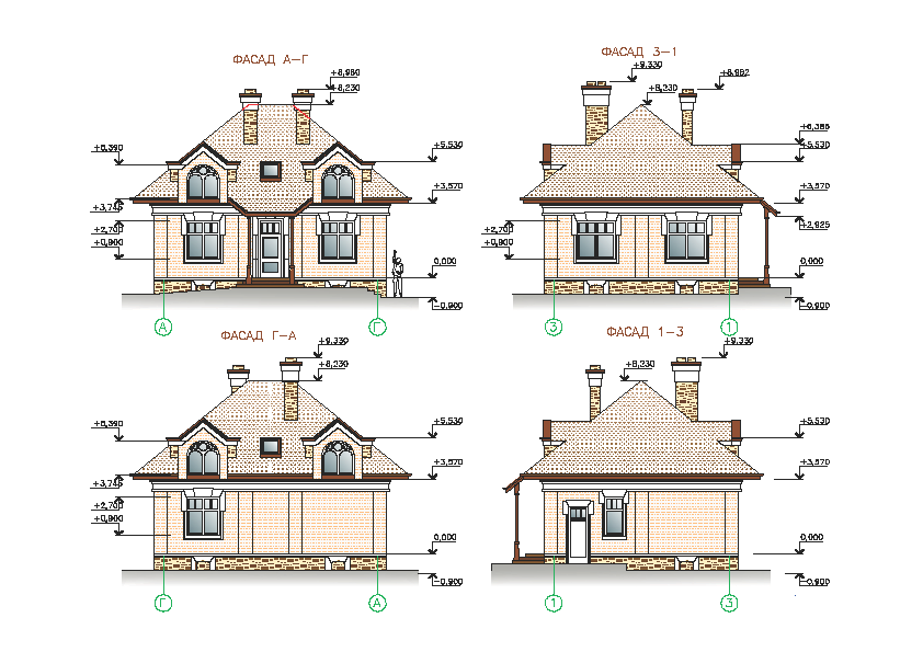 Дизайн фасадов загородного дома  Аrchitect4U проектная