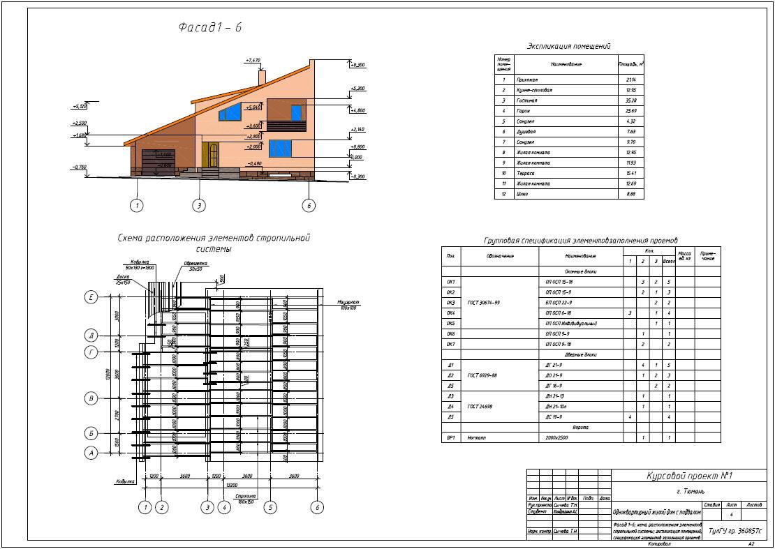 Курсовые и Дипломные проекты Коттеджей Архив проектов домов  Скачать>>> Курсовой проект №1 по дисциплине Архитектура на тему Двухэтажный одноквартирный жилой дом с подвалом