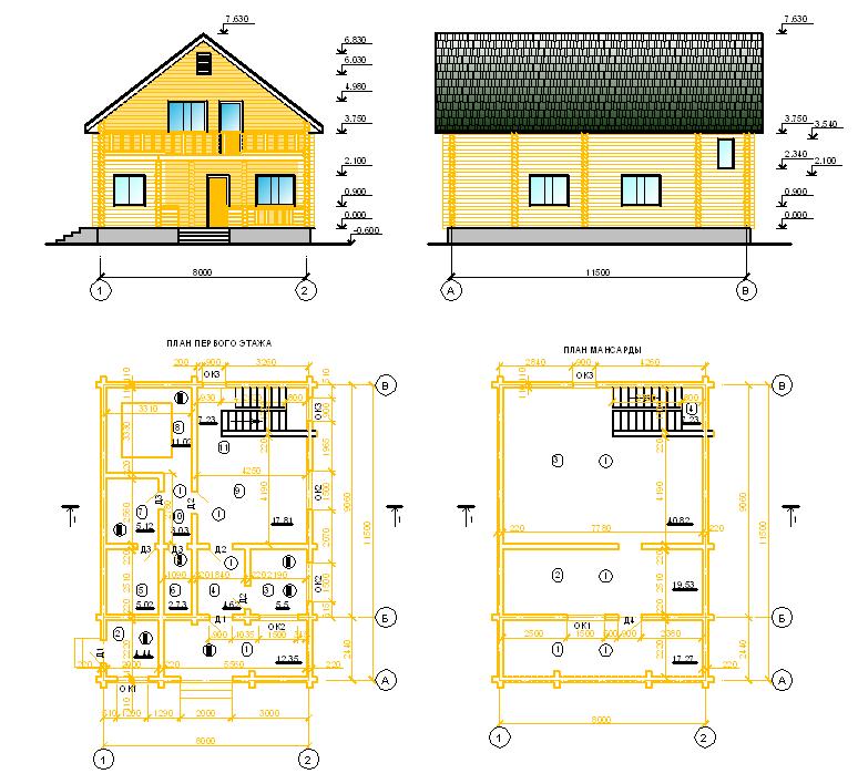Чертежи срубов домов